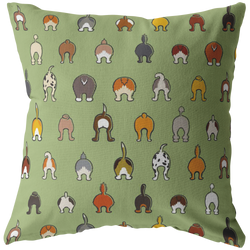 Happy Tails Pillow - Soft Green