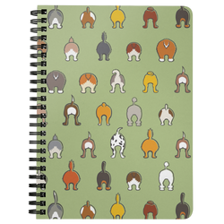 Happy Tails Lined Spiral Notebook - Soft Green