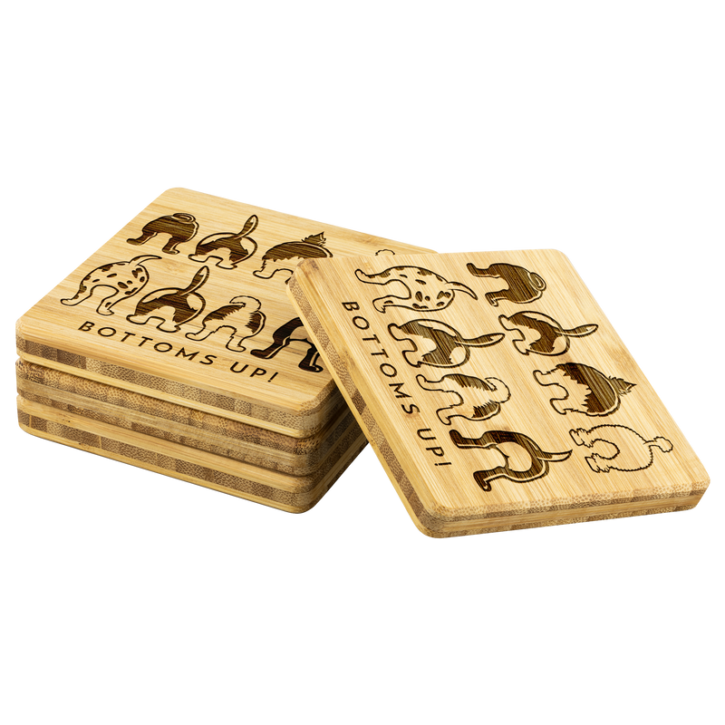 Bottoms Up! Happy Tails Bamboo Coasters - Set of 4