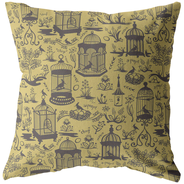 Bird Cage Toile Pillow - Soft Yellow