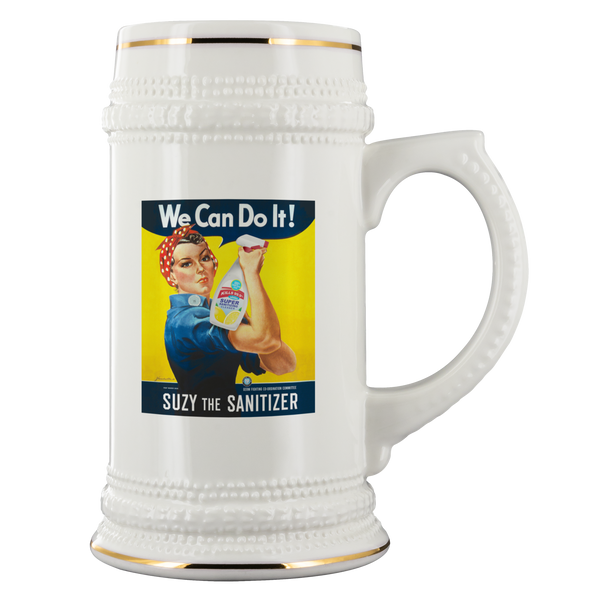 Suzy the Sanitizer 22oz Ceramic Beer Stein - FREE SHIPPING