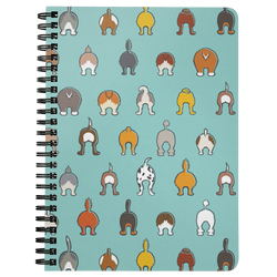 Happy Tails Lined Spiral Notebook - Aqua