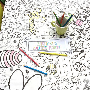 giant easter colouring in tablecloth