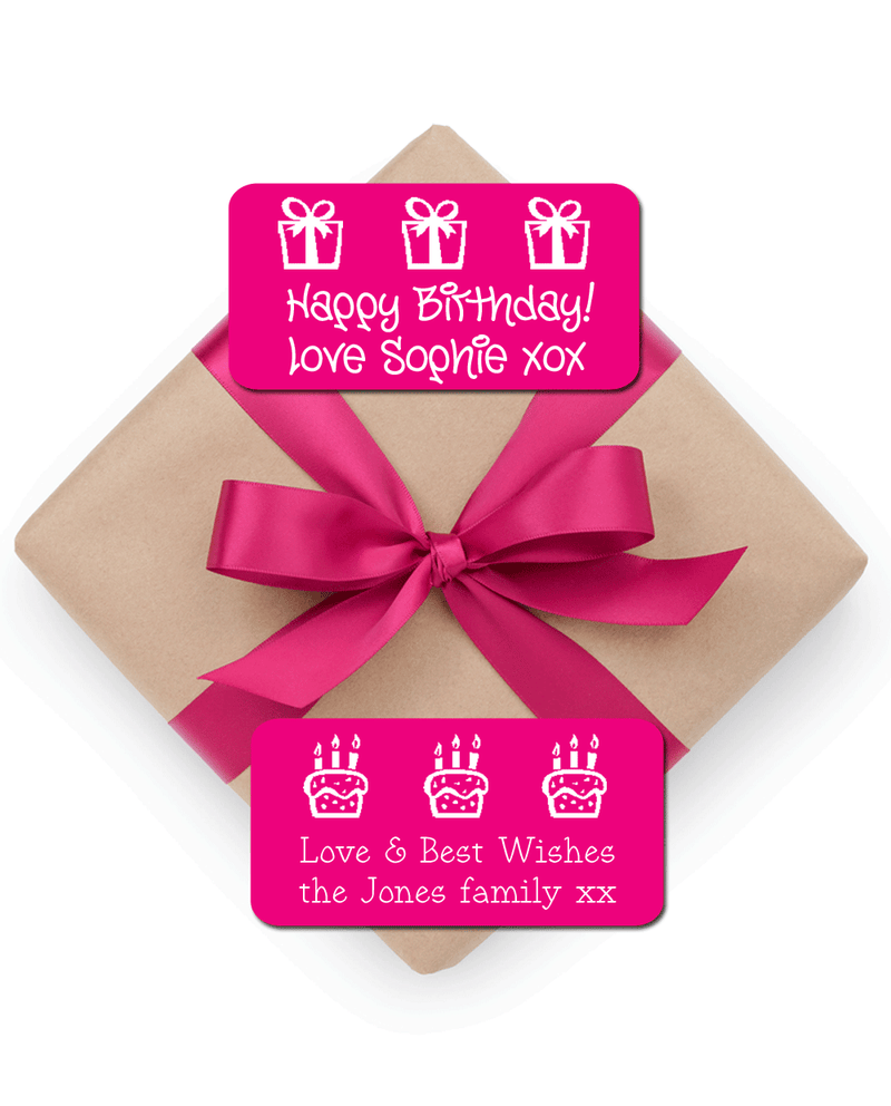 Present with pink ribbon and pink stick on gift tags