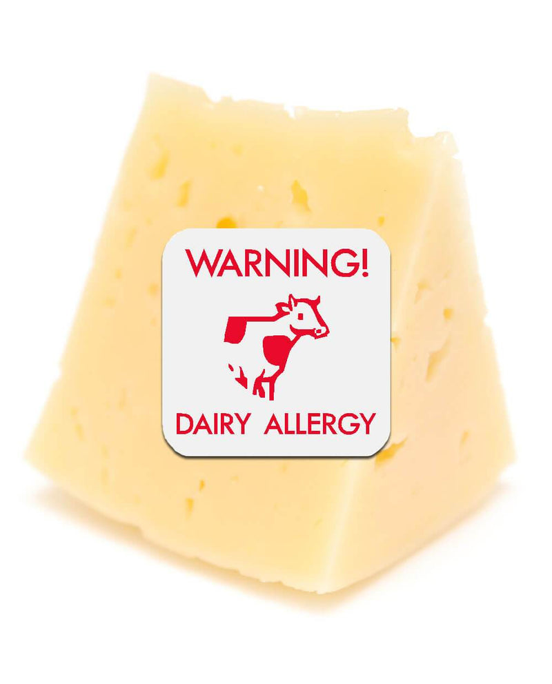 Wedge of cheese with dairy allergy sticker