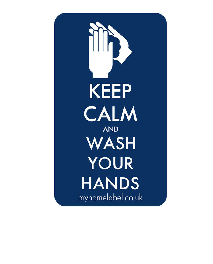 Keep Calm & Wash Your Hands Sticker - Navy