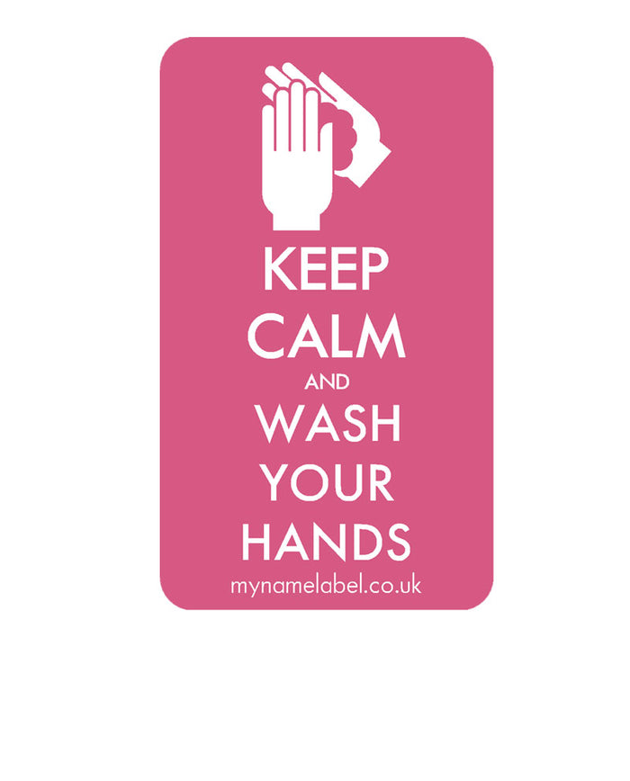 Keep Calm & Wash Your Hands Sticker - Pink