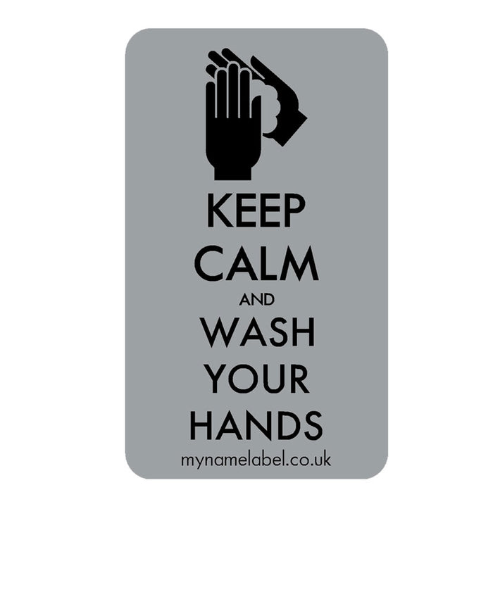 Keep Calm & Wash Your Hands Sticker - Silver