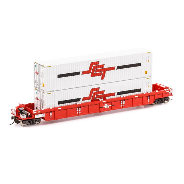 Auscision HO SWW-8 PWWY Well Wagon SCT Red with 2 x 48ft Containers Single Car