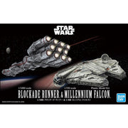 Bandai Star Wars 1/1000 Blockade Runner and 1/350 Millennium Falcon