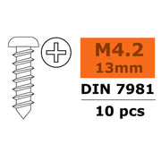 G-Force 0175-013 Self-Tapping Pan Head Screw 4.2x13 Galvanised Steel (10 pcs)