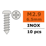 G-Force 0275-001 Self-Tapping Pan Head Screw 2.9x6.5 Inox (10 pcs)