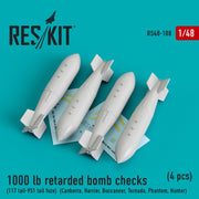 Res/Kit 48-0188 1/48 1000 lb retarded bomb checks (117 tail-951 tail fuze) (4 pcs)