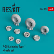 Res/Kit 48-0220 1/48 P-38 Lightning Type 1 Wheels Set