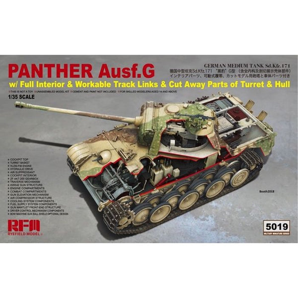 Rye Field Models 1/35 Panther Ausf.G Interior Kit with Cut Open Parts of Turret and Hull RM-5019