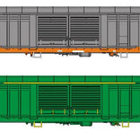 Auscision HO SLV-8 RBFX Louvered Van National Rail Grey & AN Green 4 Car Pack