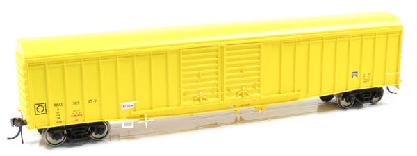 Auscision HO WLV-8 WBAX Louvered Van with Curved Roof, Yellow with West Rail Logo, 4 Car Pack