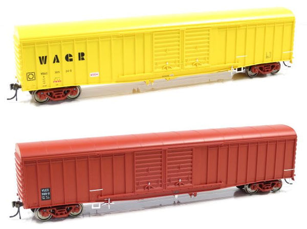 Auscision HO WLV-9 VLEX/WBAX Louvered Van with Curved Roof, VR Wagon Red & WAGR Yellow, 4 Car Pack
