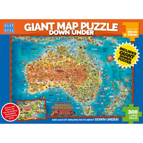 Blue Opal Giant Map Down Under Puzzle 300pc