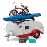 Greenlight 18440-A 1/24 Silver/Red Trim Tear Drop Caravan with Bike & Kayak