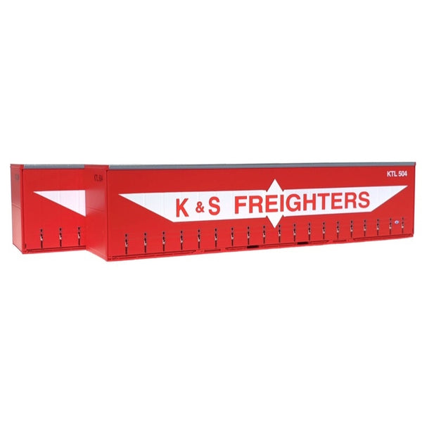 On Track Models HO 40ft Curtain Sided Container K&S Red