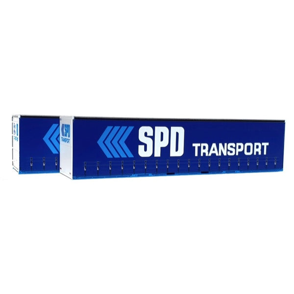 On Track Models HO 40ft Curtain Sided Container SPD Transport Dark Blue