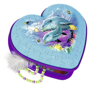 Ravensburger 12118-2 Dolphins 3D Heart Box Puzzle 54pc