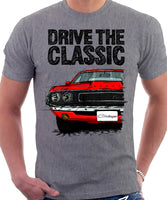 Drive The Classic Dodge Challenger 1970. T-shirt in Heather Grey Colour