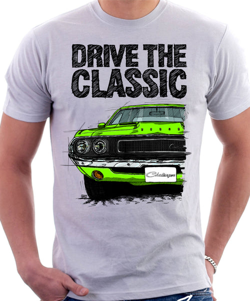 Drive The Classic Dodge Challenger 1970. T-shirt in White Colour