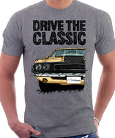 Drive The Classic Dodge Challenger 1970 Black Hood. T-shirt in Heather Grey Colour