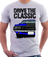 Drive The Classic Dodge Challenger 1970 Black Hood. T-shirt in White Colour