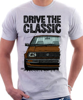 Drive The Classic VW Jetta Mk2 Early Model. T-shirt in White Colour