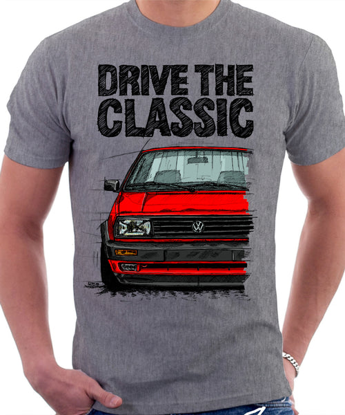 Drive The Classic VW Jetta Mk2 Late Model. T-shirt in Heather Grey Colour