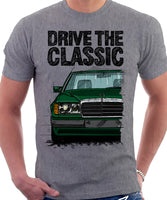 Drive The Classic Mercedes W124 Early Model Bumper Version 2. T-shirt in Heather Grey Colour