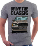 Drive The Classic Mercedes W124 Late Model Black Bumper. T-shirt in Heather Grey Colour