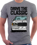 Drive The Classic Mercedes W124 Late Model Colour Bumper. T-shirt in Heather Grey Colour