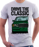 Drive The Classic Mercedes W124 Late Model Colour Bumper. T-shirt in White Colour