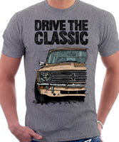 Drive The Classic Mini Clubman Black Grille. T-shirt in Heather Grey Colour