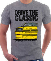 Drive The Classic Opel Manta B Square Lights. T-shirt in Heather Grey Colour
