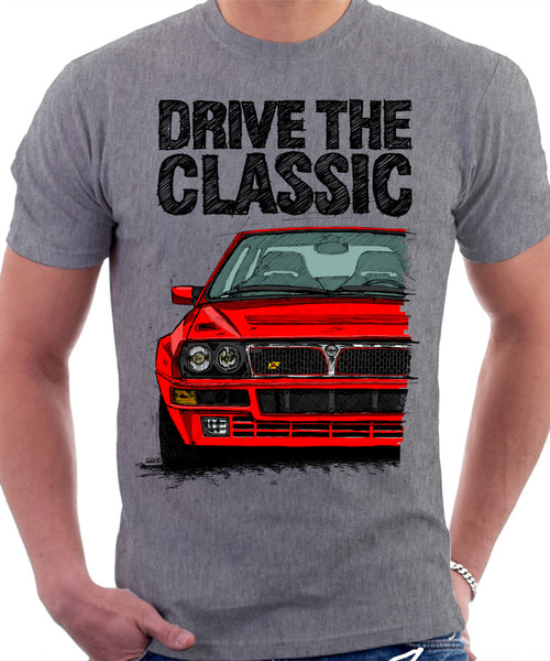 Drive The Classic Lancia Delta Integrale. T-shirt in Heather Grey Colour