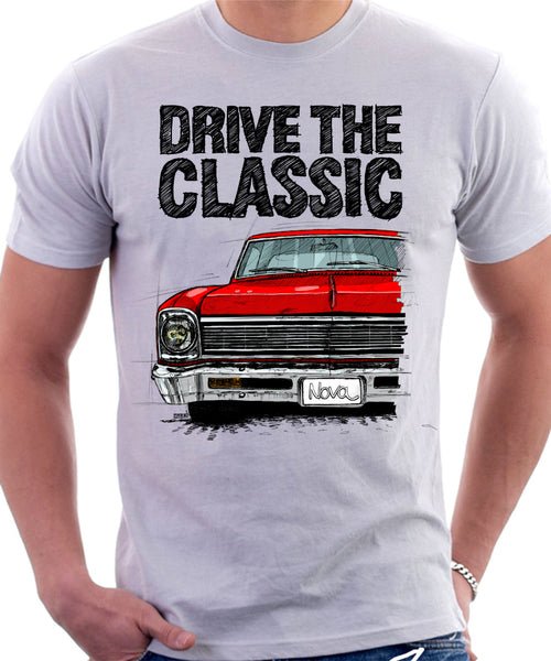 Drive The Classic Chevrolet Nova 1966. T-shirt in White Colour
