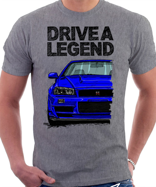 Drive A Legend Nissan Skyline R34. T-shirt in Heather Grey Colour