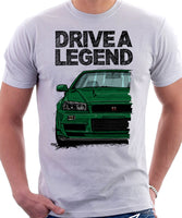 Drive A Legend Nissan Skyline R34. T-shirt in White Colour