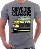 Drive The Classic Mercedes W114/115 Late Model. T-shirt in Heather Grey Colour