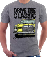 Drive The Classic Mercedes W114/115 Early Model. T-shirt in Heather Grey Colour