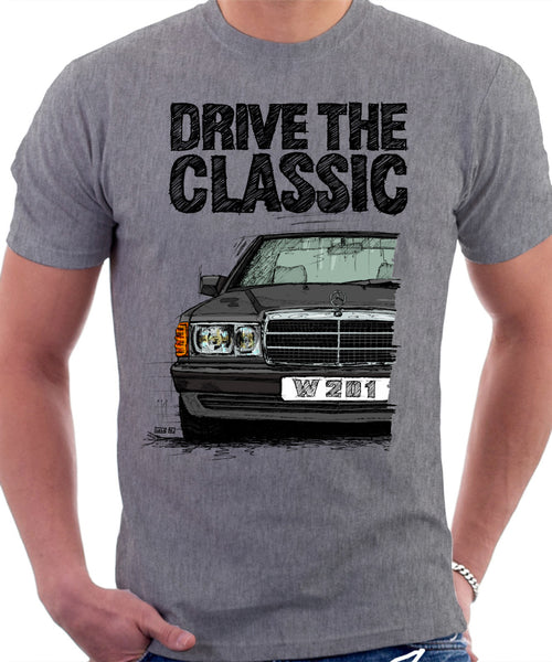 Drive The Classic Mercedes W201/190 Late Model. T-shirt in Heather Grey Colour