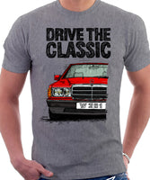 Drive The Classic Mercedes W201/190 Early Model. T-shirt in Heather Grey Colour