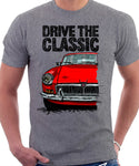 Drive The Classic MGB. T-shirt in Heather Grey Colour