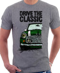 Drive The Classic Mini Cooper (Hood Stripes). T-shirt in Heather Grey Colour