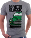 Drive The Classic Morris Minor. T-shirt in Heather Grey Colour